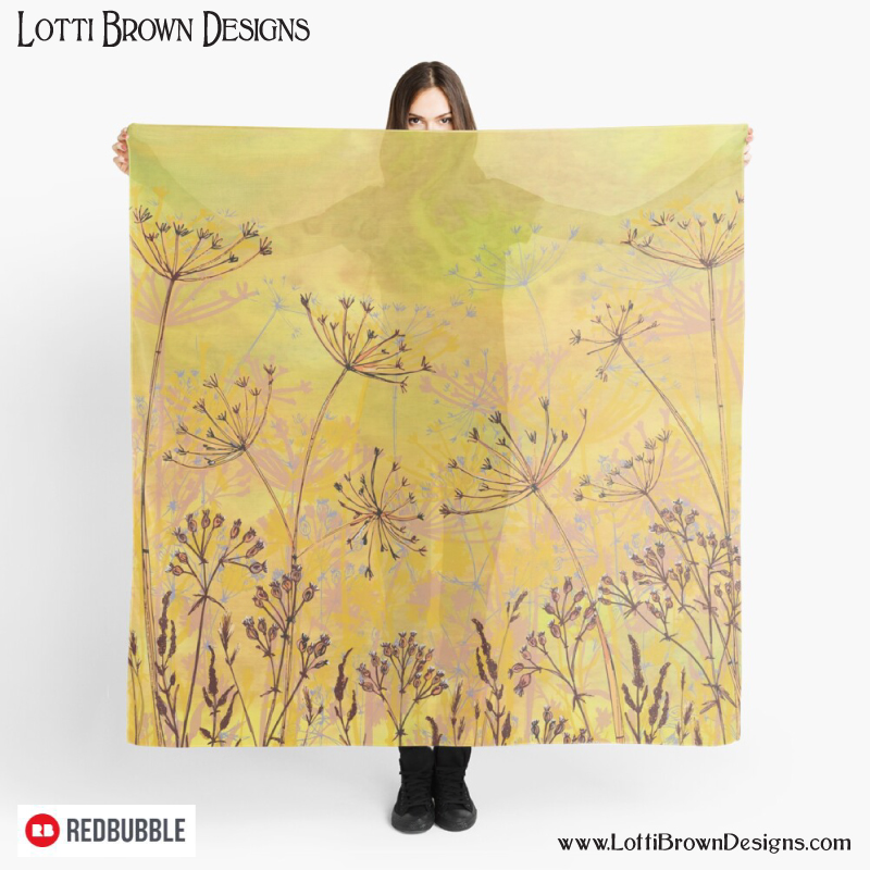 Stunning yellow nature art silky scarf by Lotti Brown at Redbubble - click to go there…
