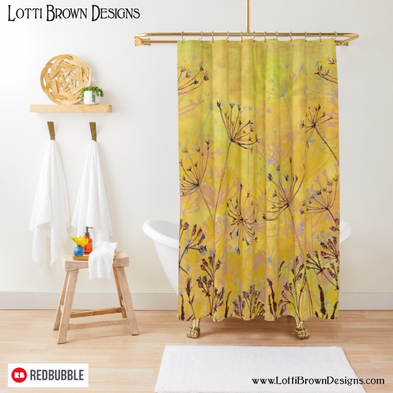Brighten up your bathroom with this colourful yellow nature art shower curtain by Lotti Brown at Redbubble - click to see…