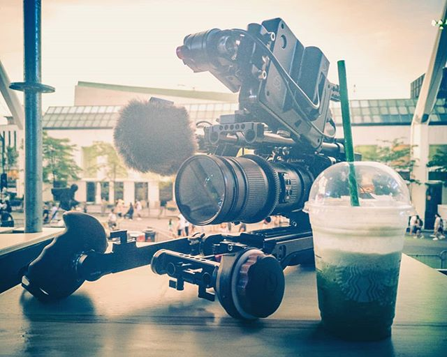 All essential pieces of kit for filming today at the @justforlaughs #festival importantly including the #cold #greenteafrappuccino on these #hotsummernights --- 📸 - #huaweip20pro