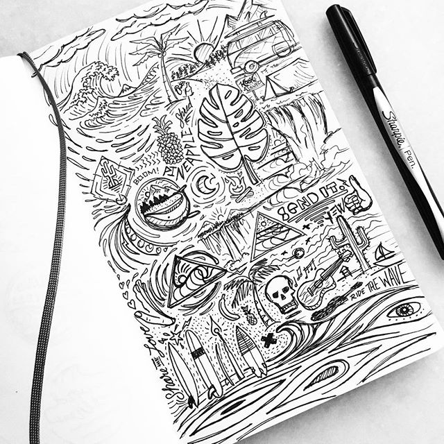 It's been a while since I've posted, just had a lot of major life events happen back to back. Bought a house with my wife, bought a new car, and rescued a dog that is absolutely perfect. Today was the first day I've had to sit back relax and get back to sketching. To make up for lost time I filled an entire page full of radness for your viewing pleasure! 🤙🏼