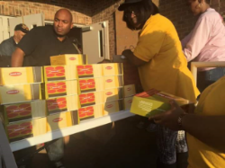 Stocking snacks to serve survivors and volunteers