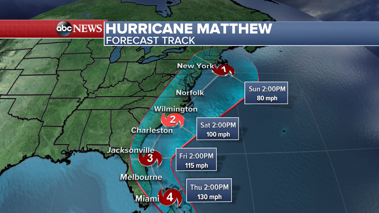 The official forecast track shows Hurricane Matthew approaching Florida and heading towards the east coast this week. Photo by ABC News (www.abcnews.go.com)
