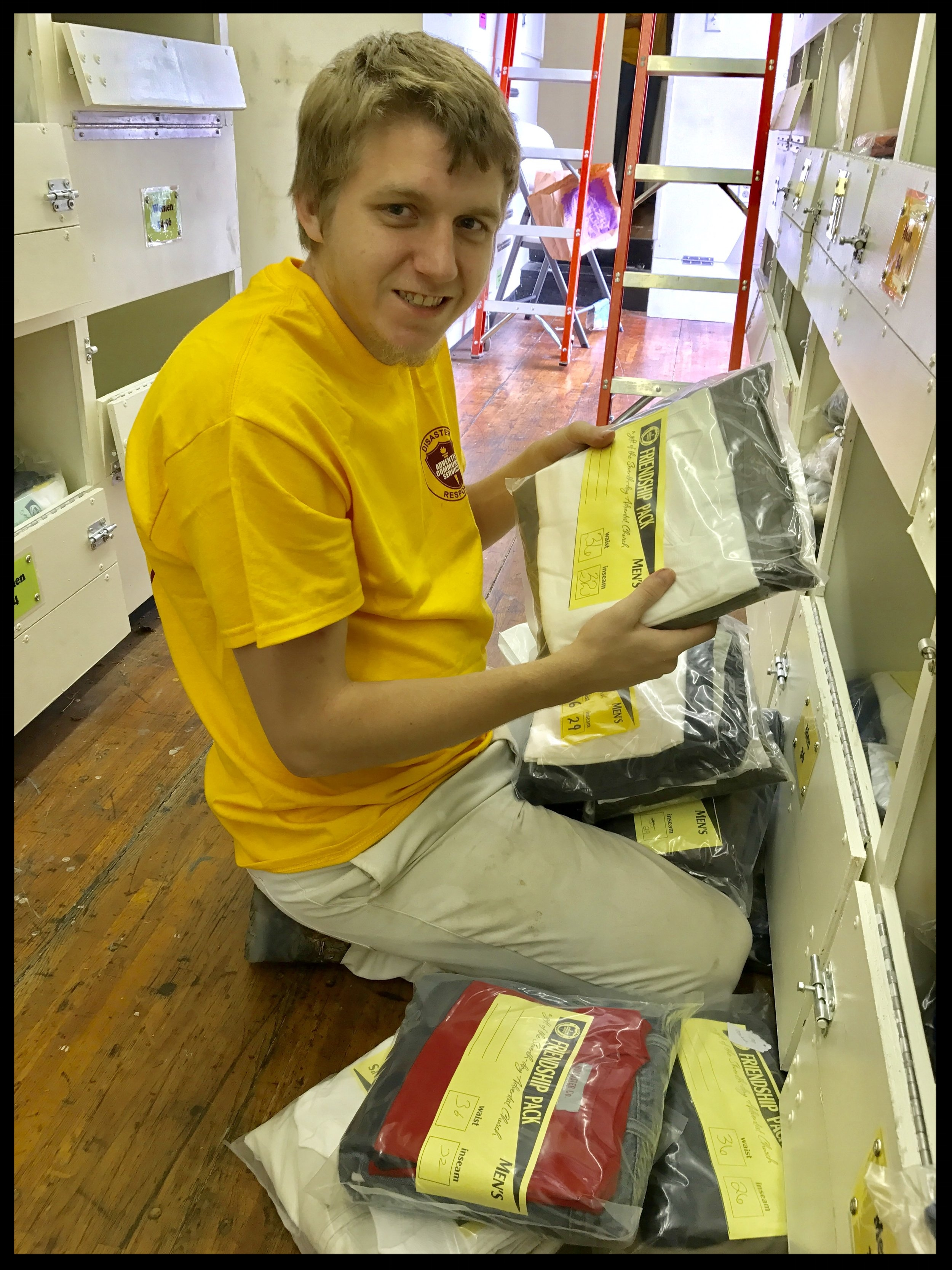 Aaron Atkison filling orders for tornado survivors in New Orleans.""