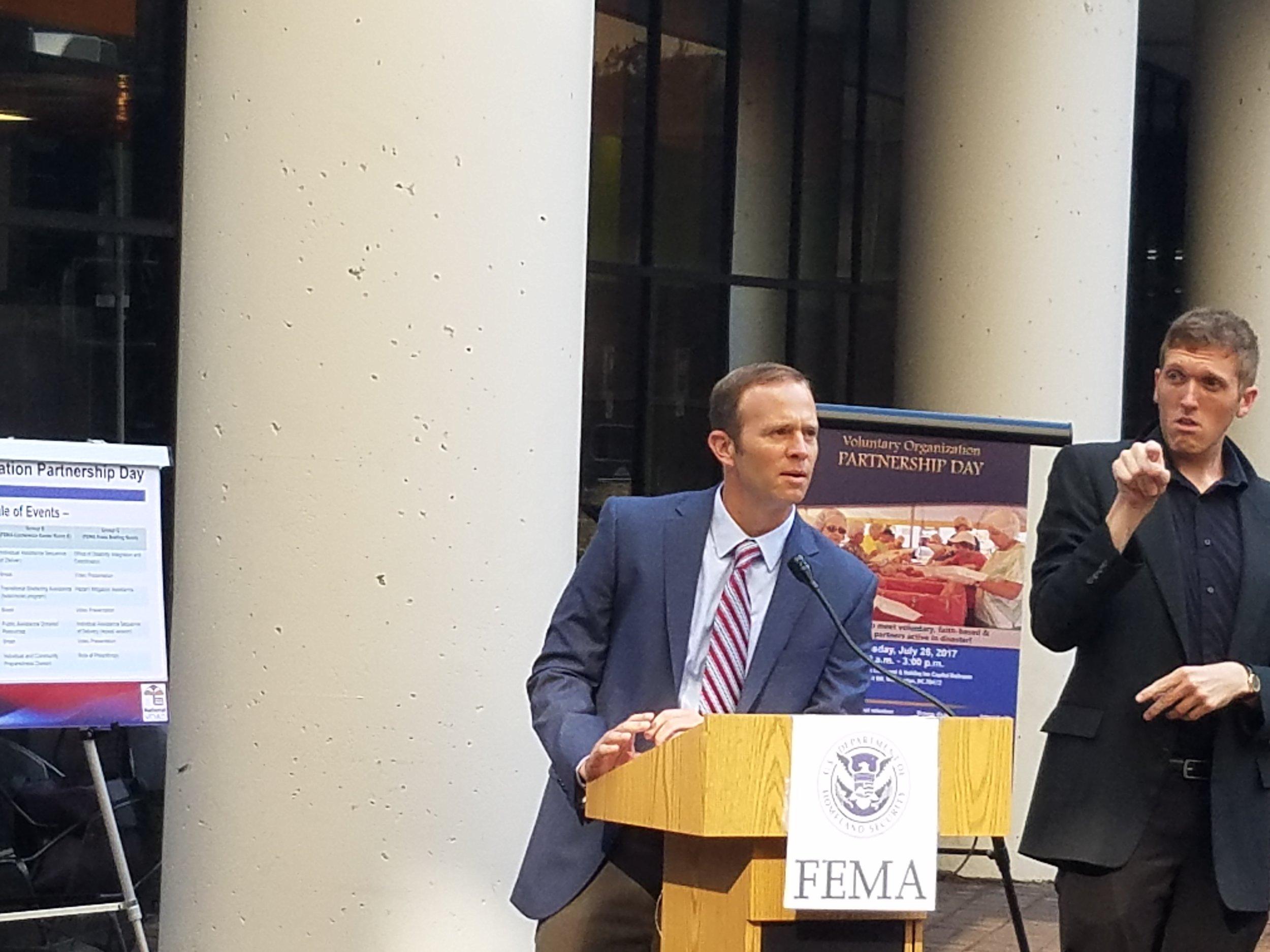 New FEMA administrator addresses crowd on Partnership day at FEMA headquarters.