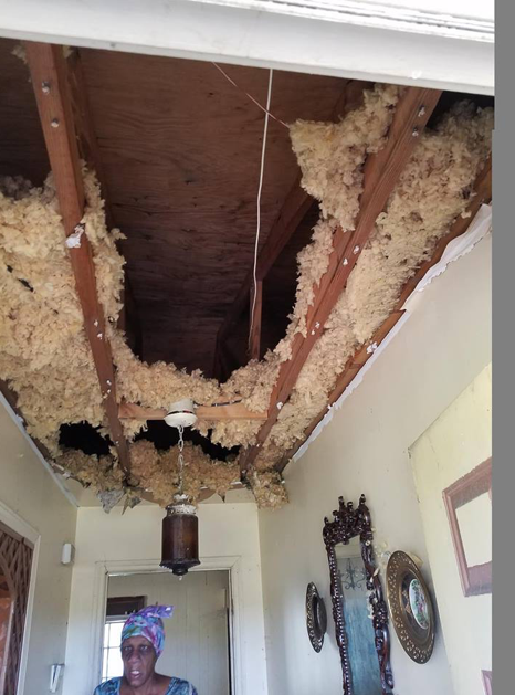 Some of the roof damage created by the Hurricane.