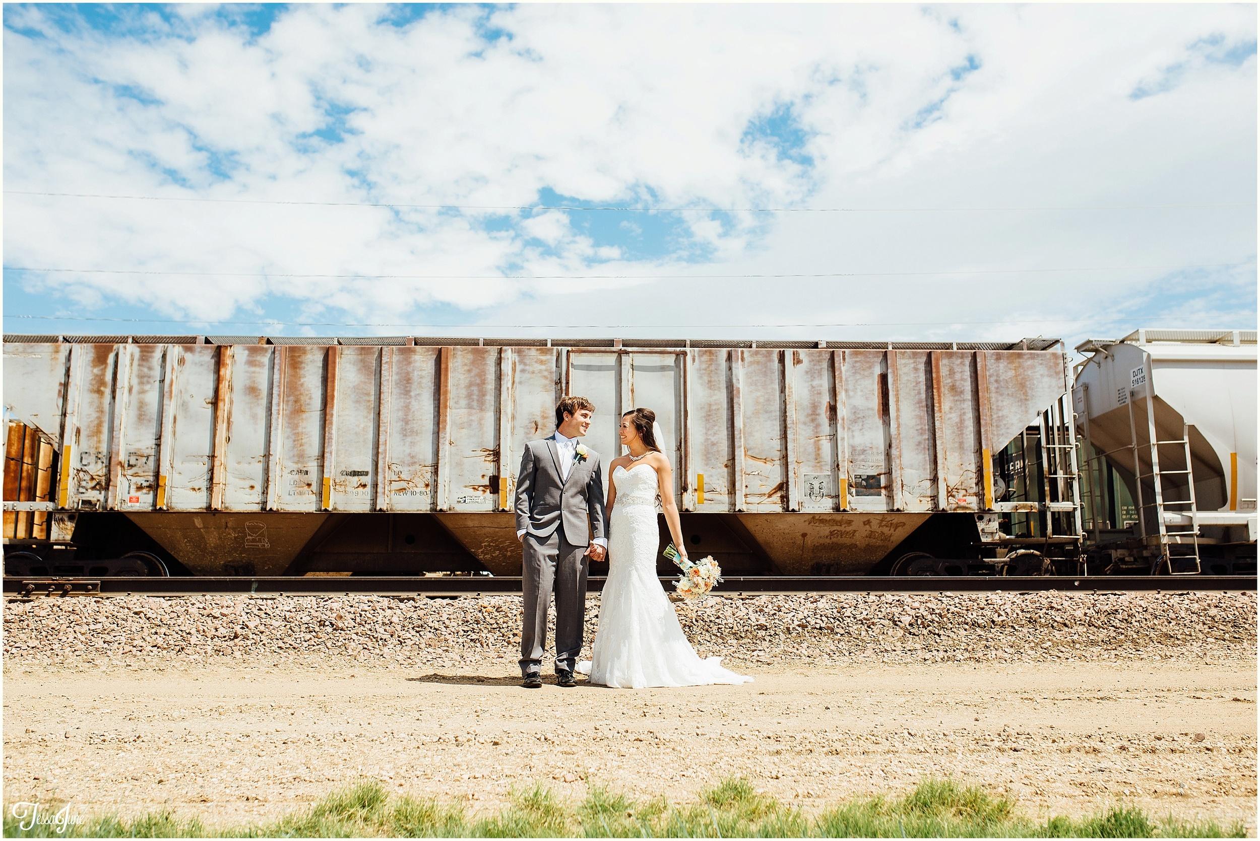 Decker-wedding-South-Dakota-Teal-Blue-train