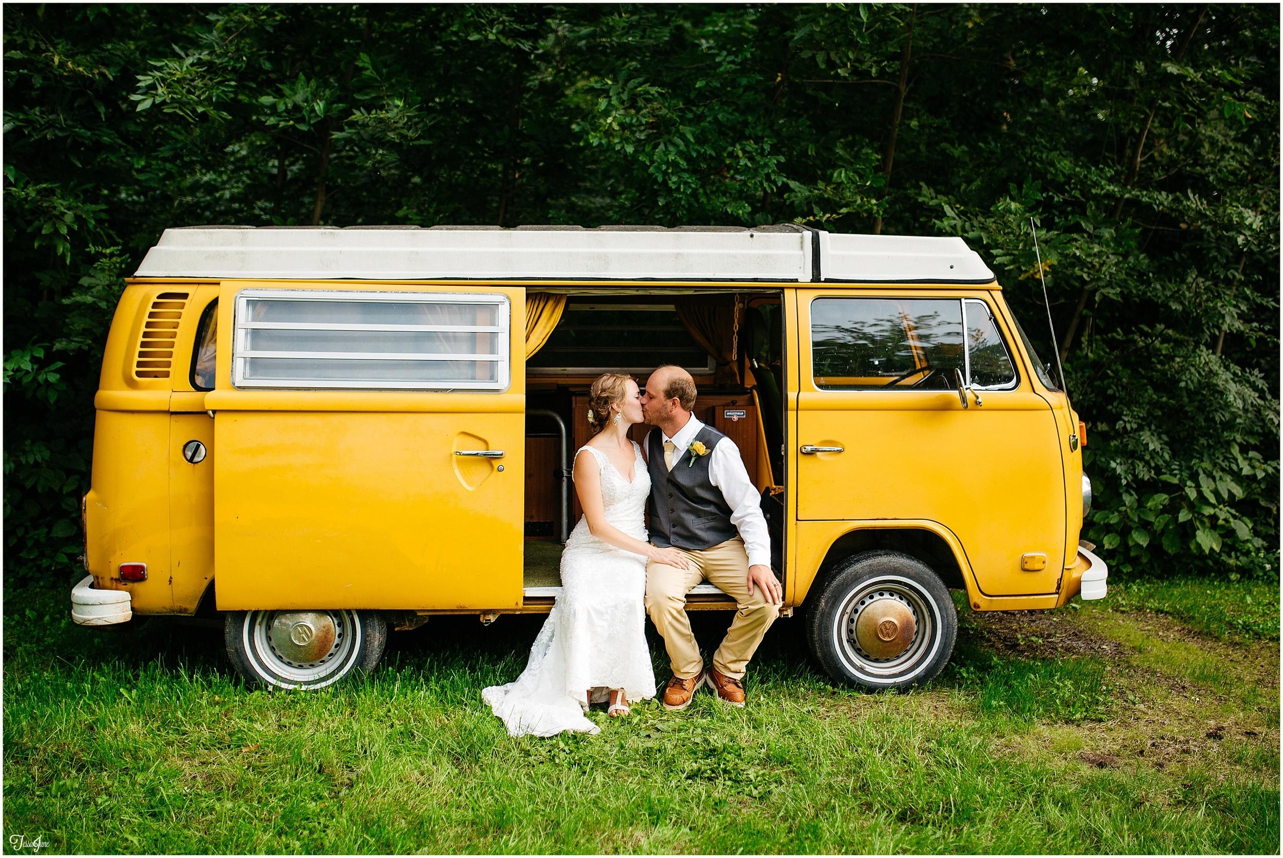 rochester-saint-cloud-minnesota-bohemian-hippie-wedding-orange-bridesmaids-redwing-boots-yellow-volkswagen-van