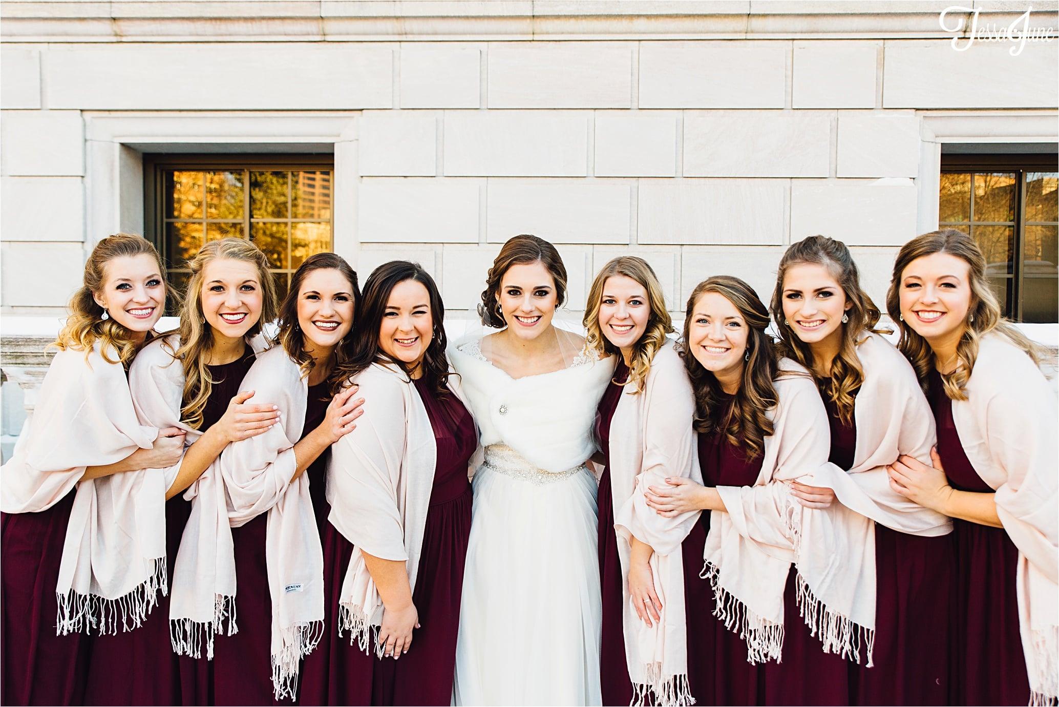 st-cloud-minnesota-wedding-photographer-rice-park-winter-maroon-bridesmaids