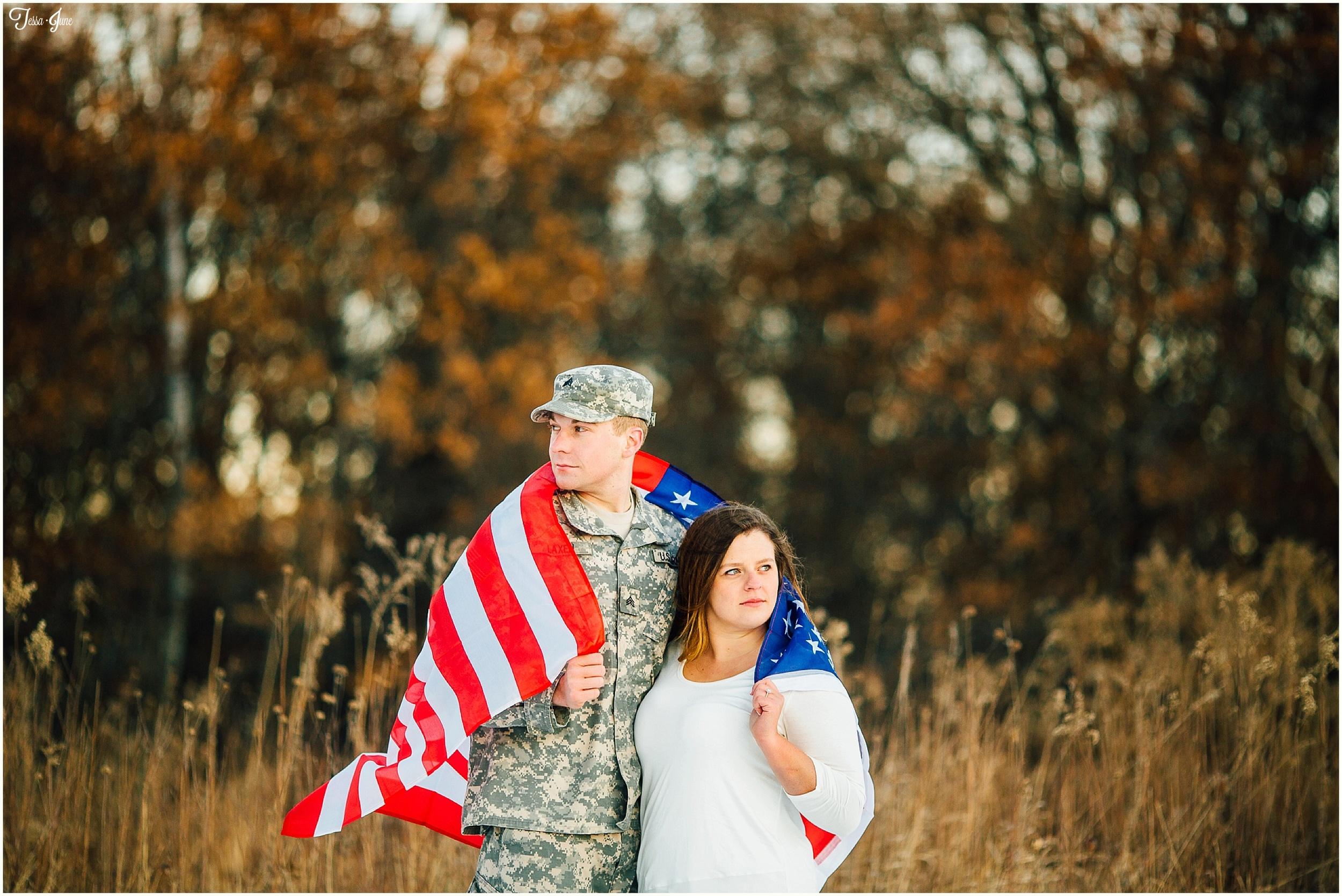 st-cloud-minnesota-wedding-photographer-waite-park-quarry-winter-army-flag