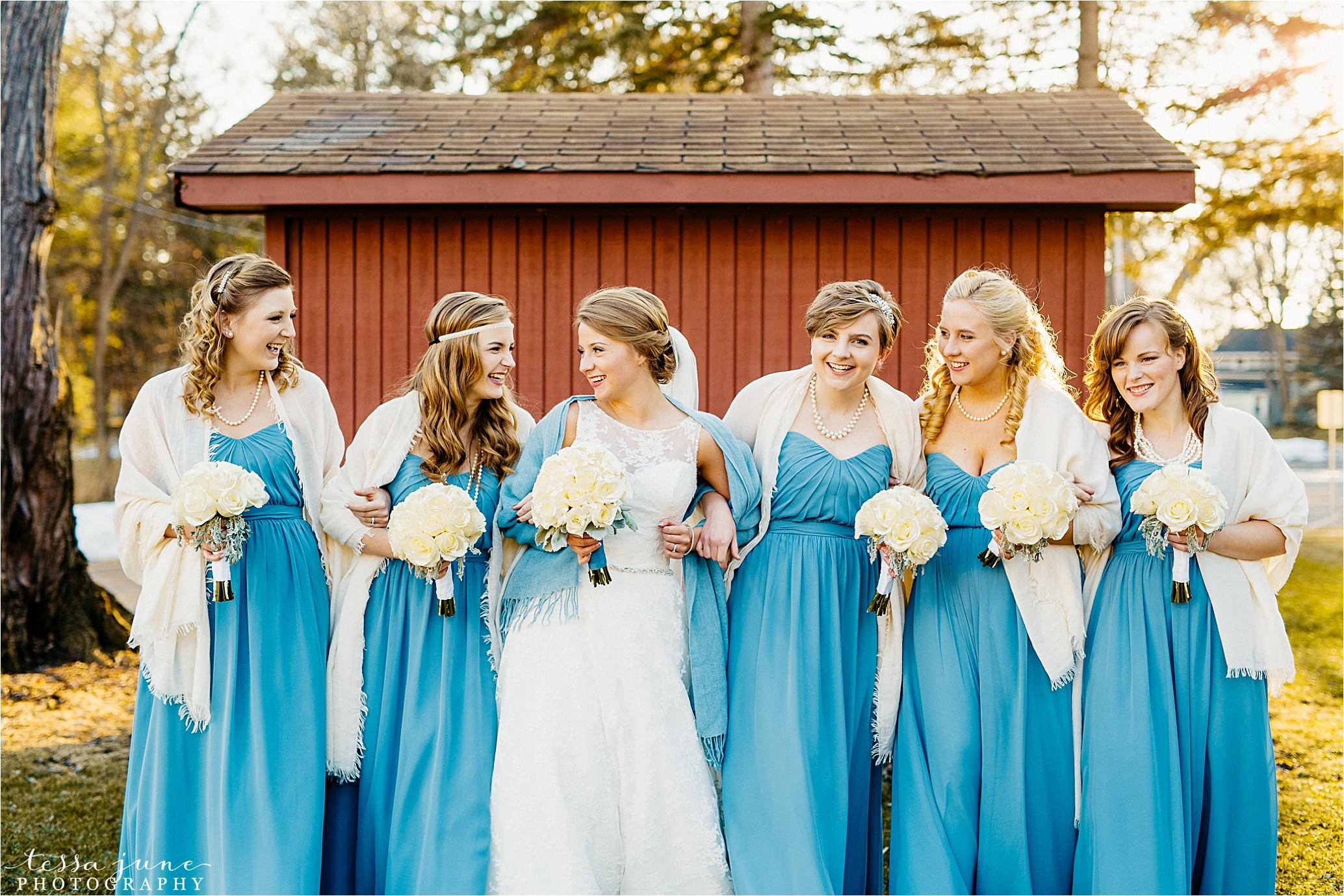st-cloud-minnesota-wedding-photographer-brooklyn-park-community-center-bridesmaids-march