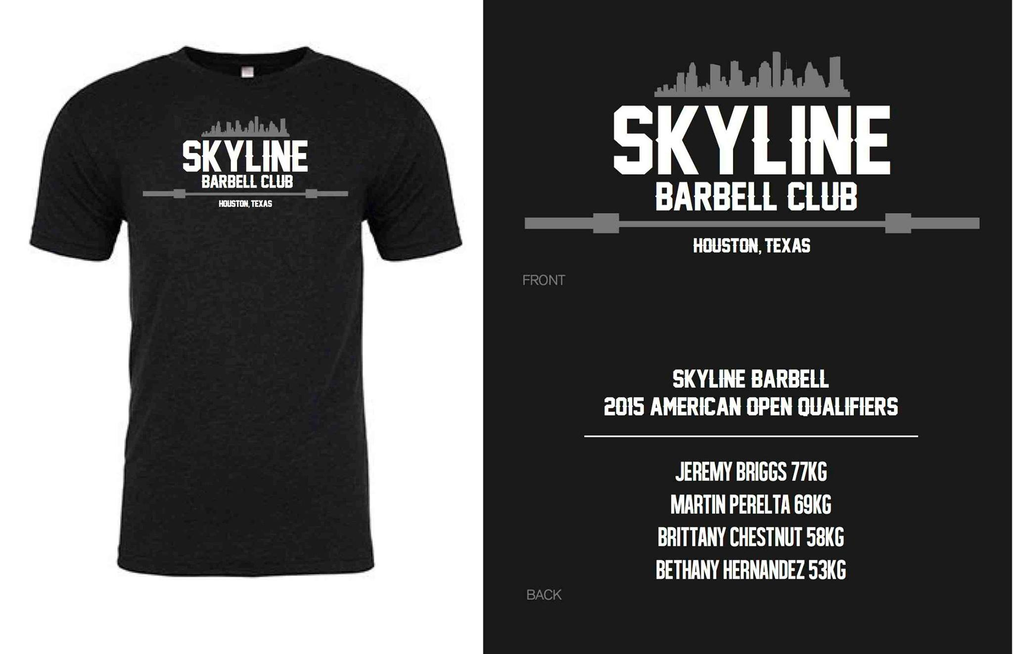 Shirts are in! If you ordered one swing by and pick it up. If you still need to buy one to help support Skyline Barbell Club we have a few extras. $30