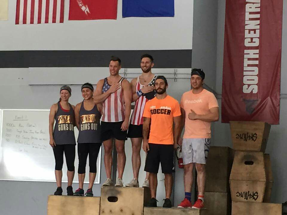 The podium finishers from Skyline CrossFit 5 year anniversary competition. Thanls to all that showed up!