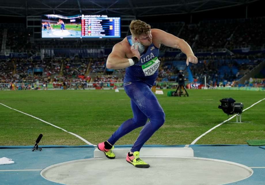 """Ryan Crouser won the Gold in Shot Put in the Summer Olympics yesterday. Nothing explains """"Core to extremity"""" quite like hurling a 16lbs steel ball 73 feet. For the win!"""