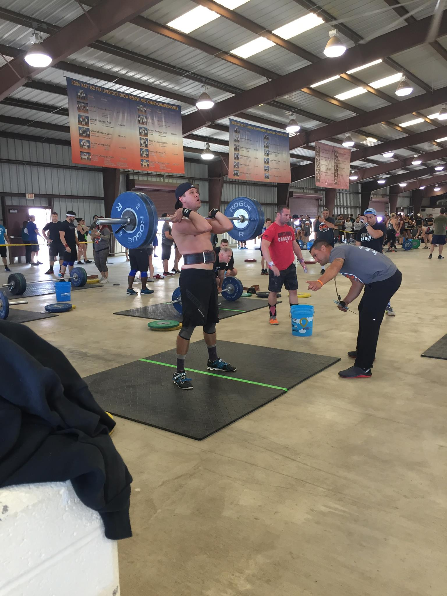 """David Burkenstock Facebook Post:  """"Usually don't post this kind of stuff but I am pretty proud of this personal best. 230 lbs squat clean into front squat. Thanks to the Skyline Family for pushing me to better every day. Of course none of this would not be possible with an amazing woman to constantly love and support me Julie Burkenstock"""""""