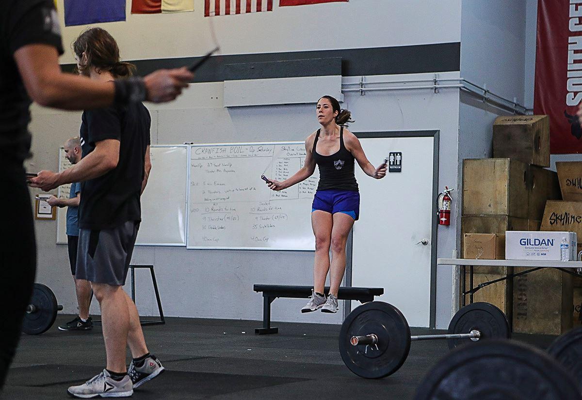 Alyse working on her levitation drills.