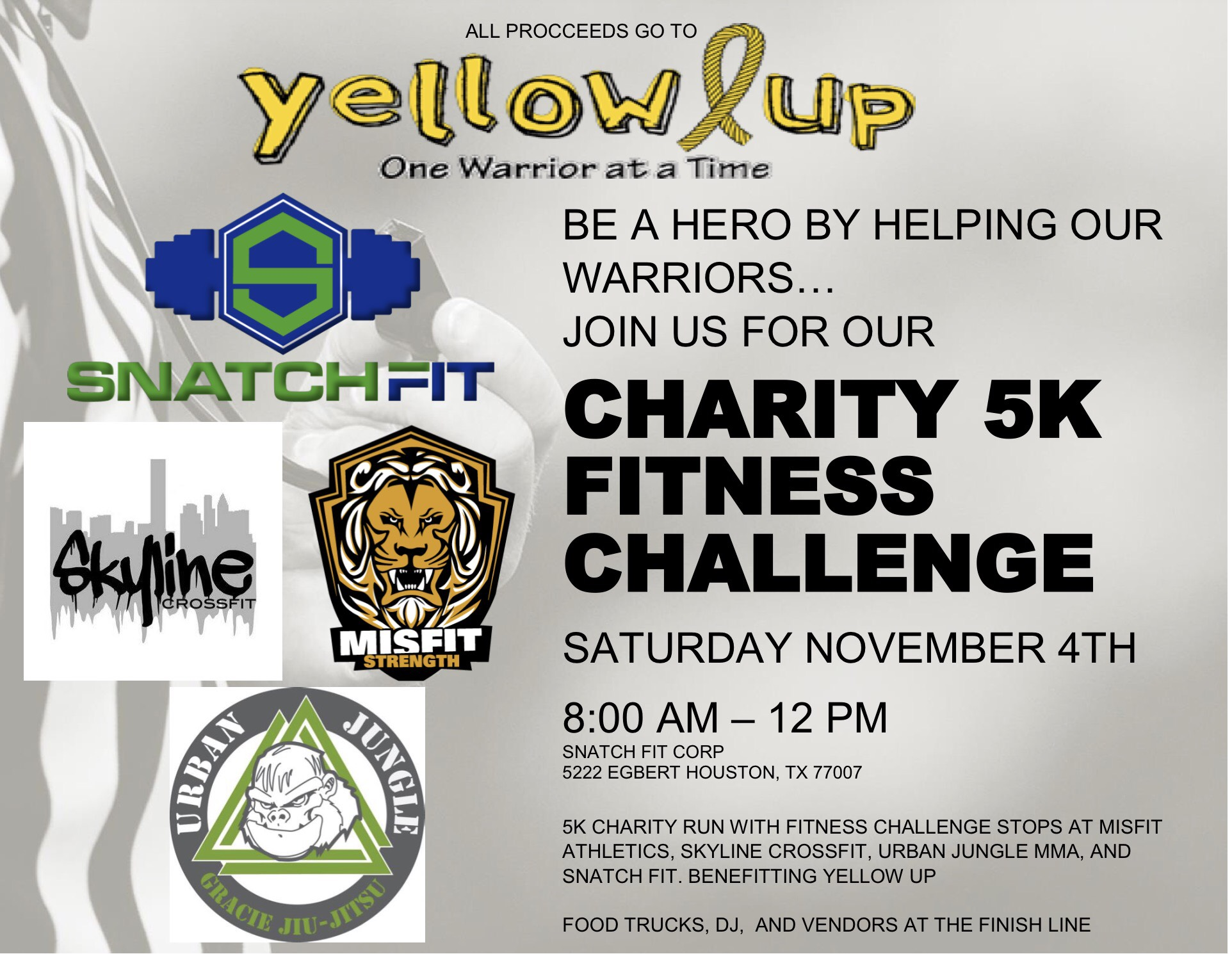 Snatch Fit of Houston is excited to bring to you a one-of-a-kind family fun run event to celebrate our one-year anniversary.  A portion of the proceeds will be donated to Yellow Up. Yellow up provides gift packages, care packages, meal, and social outings to young warriors battling cancer. www.yellowup.org . let's get fit while making an impact!  What makes our run different!? This 3.2-mile run will feature fitness stations with fun workouts lead by our neighbor gyms in the Heights fitness community . We excited to be partnered with some of the top fitness experiences in Houston which will be providing the following workouts.  Skyline Crossfit- Crossfit Work out of the day  Urban Jungle Martial Arts- Kickboxing Conditioning  Misfit Strength and Conditioning- High intensity Resistance Training  With workouts like these you will never see fitness the same again. Experience all realms of exercise in one run.  - The event starts at 8:00am and ends at 12:00pm.  - We will have food trucks, medals for participants, and beer to celebrate the journey  - The event is family friendly and open to the public.  Registrants will receive a free medal and beer and if you have over 15 or more people on your business list during the registration process; you will receive free space at the event to promote your business.  Be part of the fitness experience that is unlike any before it!