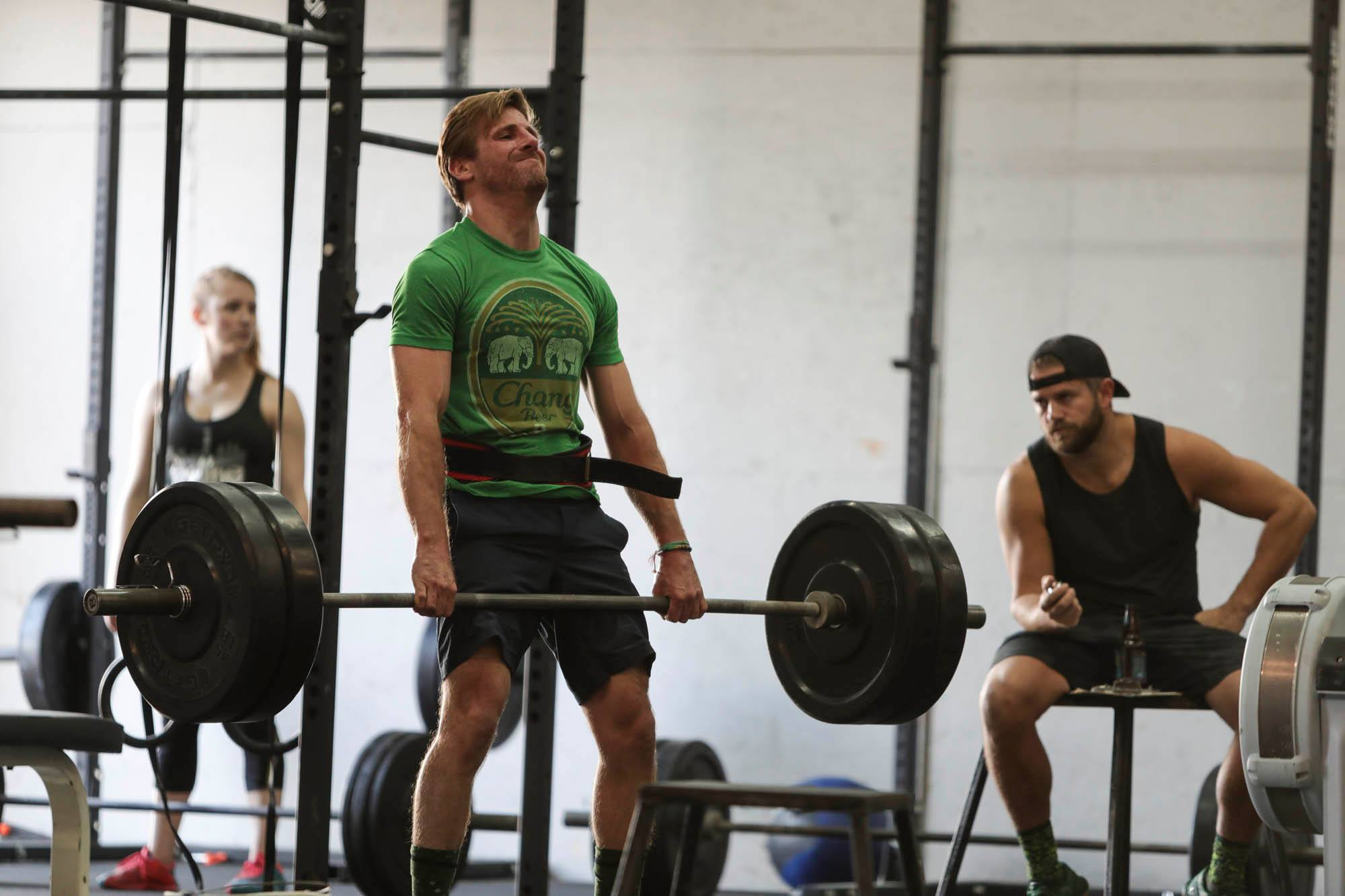 Kevin Beckering deadlifting with a neutral grip.