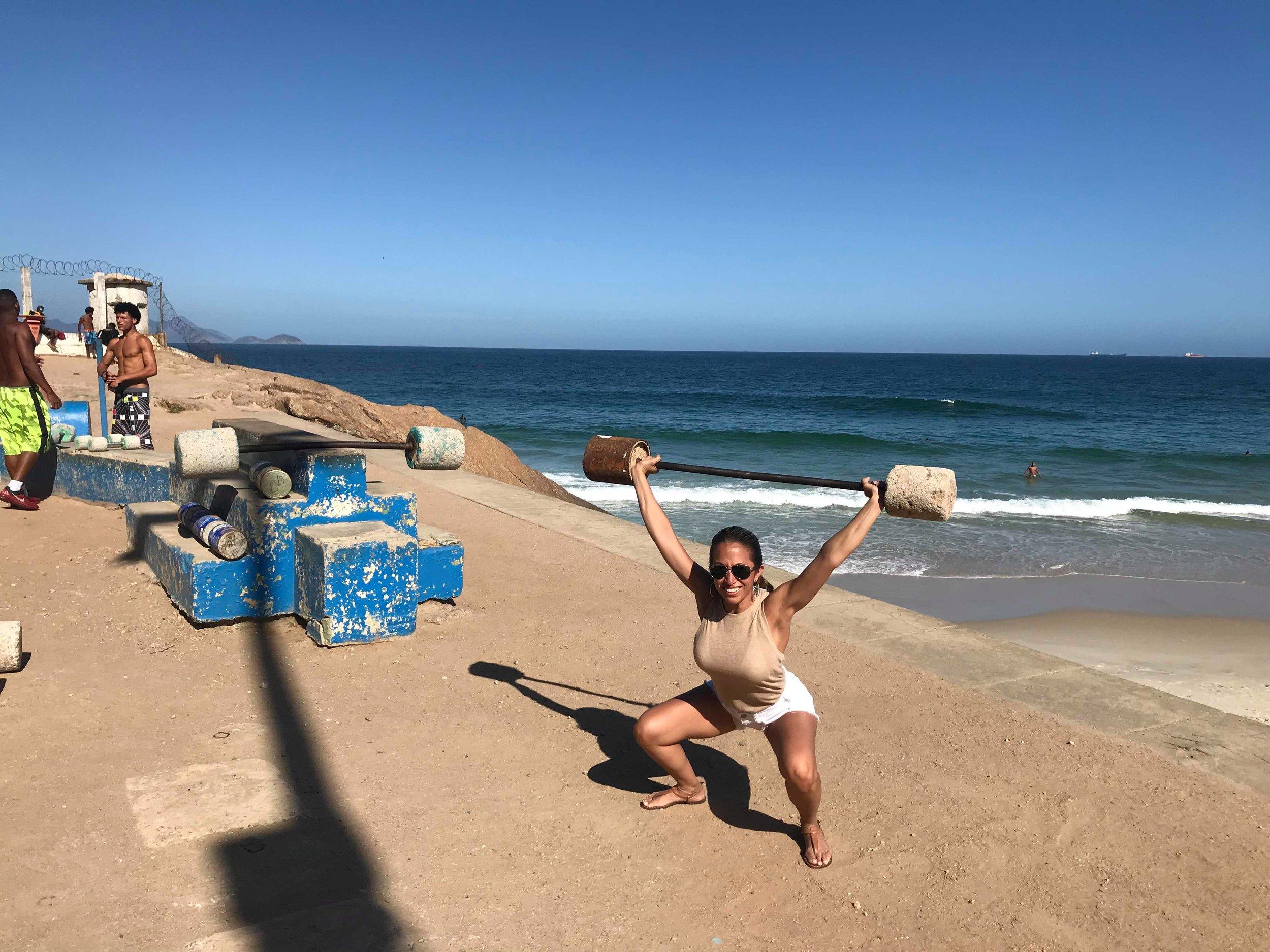 Debbie doing Flintstone Overhead Squats in Brazil!