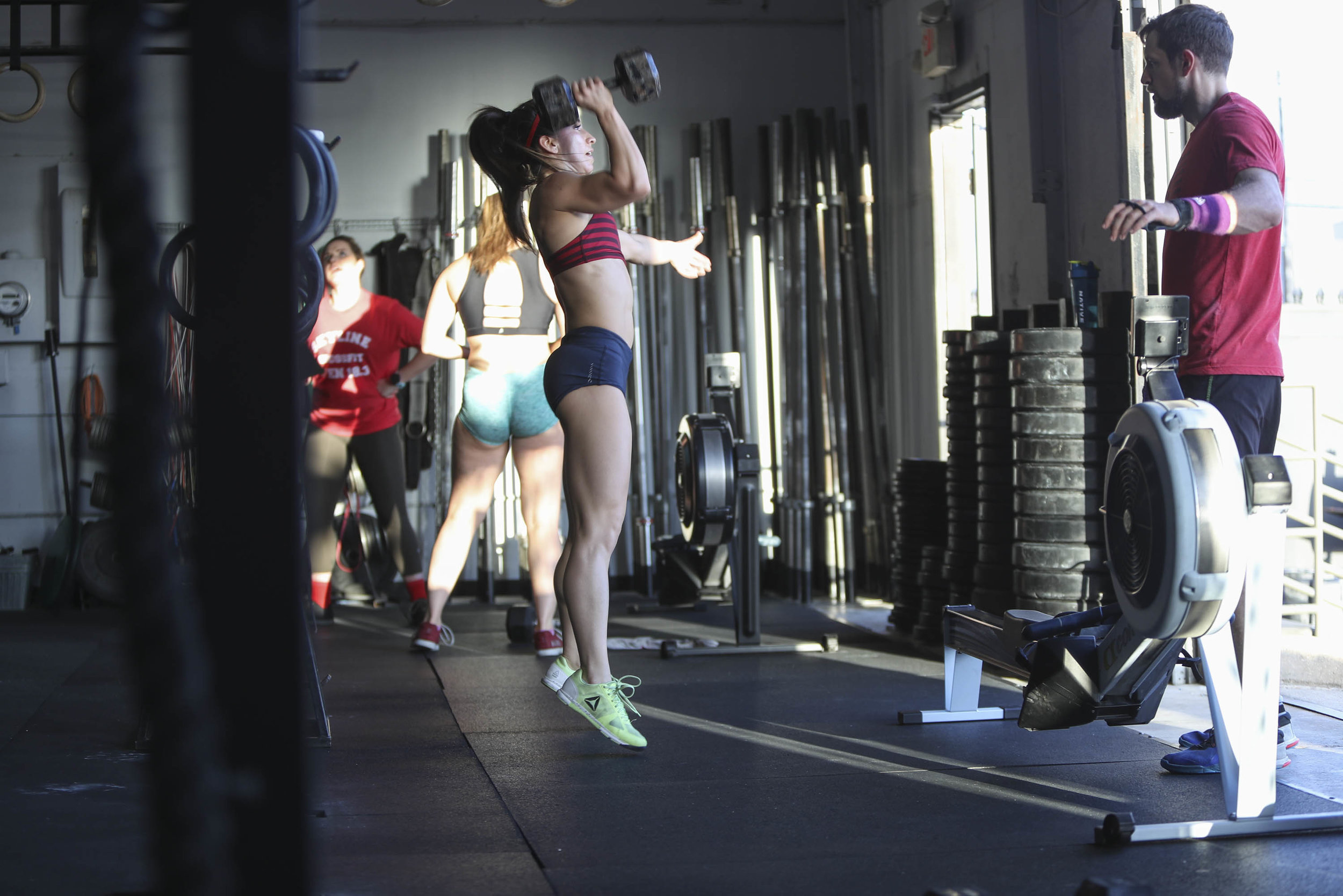 Bethany showing great hip extension during Dumbbell clean and jerks.