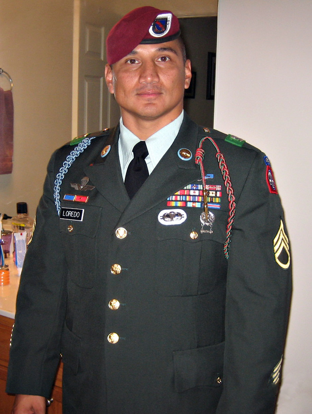 U.S. Army Staff Sergeant Edwardo Loredo, 34, of Houston, Texas, assigned to the 2nd Battalion, 508th Parachute Infantry Regiment, 4th Brigade Combat Team, 82nd Airborne Division, based in Fort Bragg, North Carolina, was killed on June 24, 2010 in Jelewar, Afghanistan, when insurgents attacked his unit with an improvised explosive device. He is survived by his wife, First Sergeant Jennifer Loredo; his daughter, Laura Isabelle; his stepdaughter, Alexis; and his son, Eduardo Enrique.