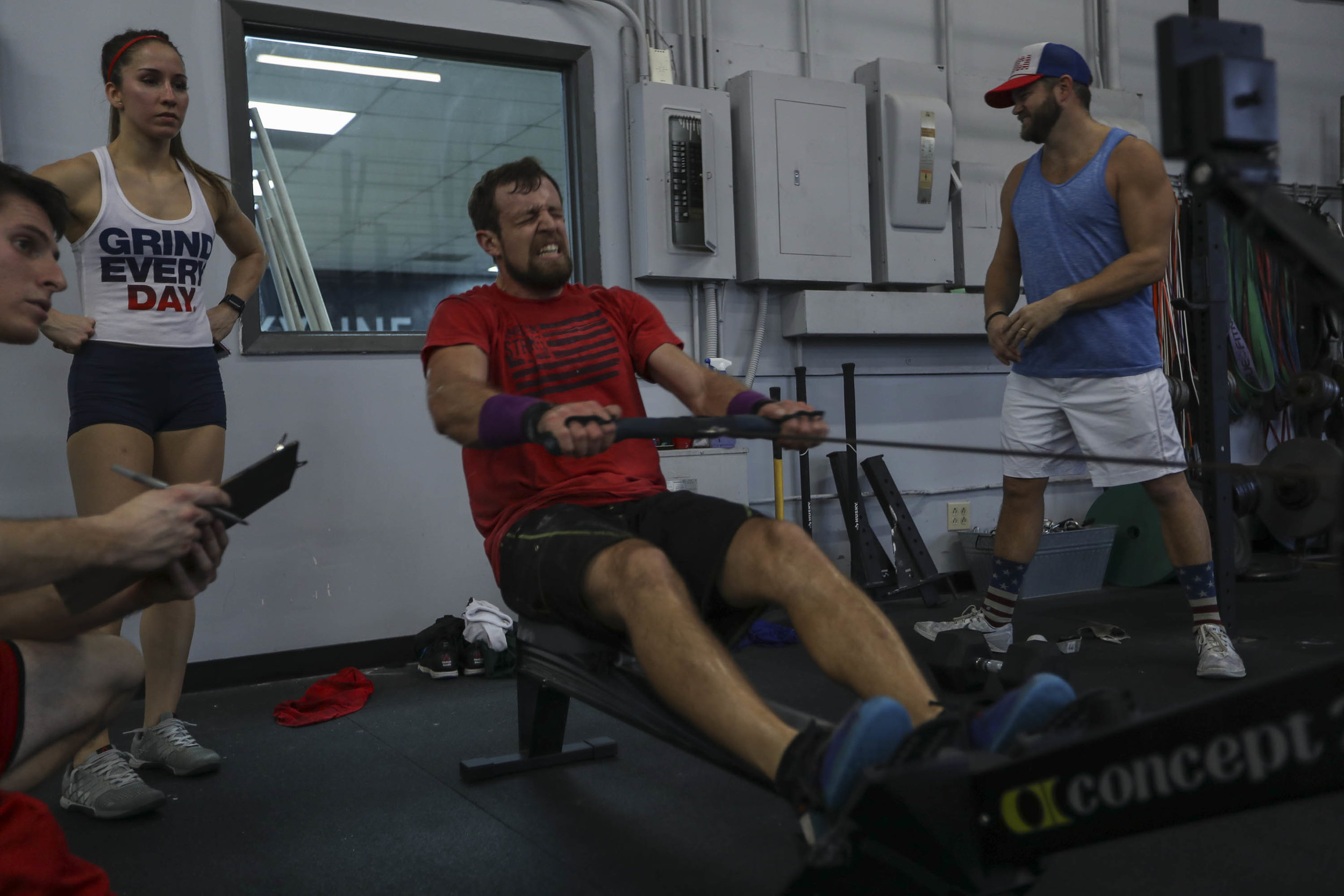 Dave throughly enjoying the Concept 2 rower.