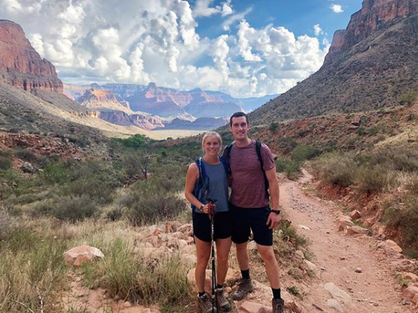 Connor and Liz hiking the Grand Canyon.