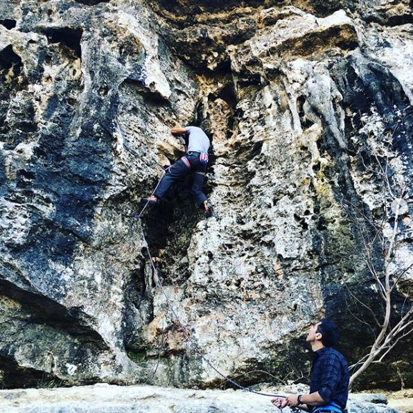 David Boyea climbing at Reimers Ranch Park.