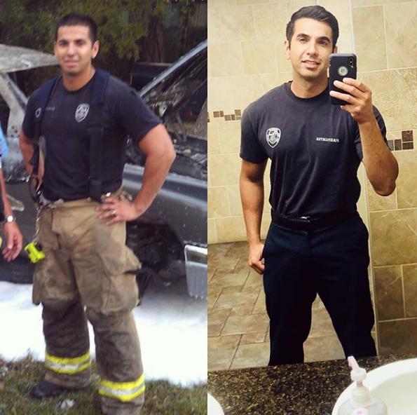 Alex Lopez Instagram post: mr_alopez:  28 yo border line hypertension vs 36 yo .. 30lbs lighter and a lot healthier.