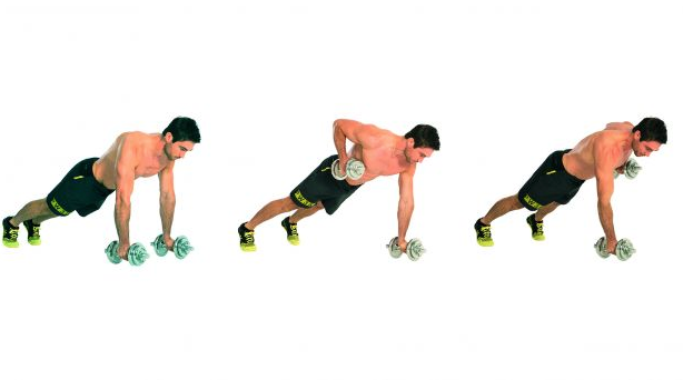Renegade Rows are done while in a plank position and pulling dumbbell to the ribs.  This helps build the lower lat, which will increase pulling power in the chest to bar pullups and muscle up.