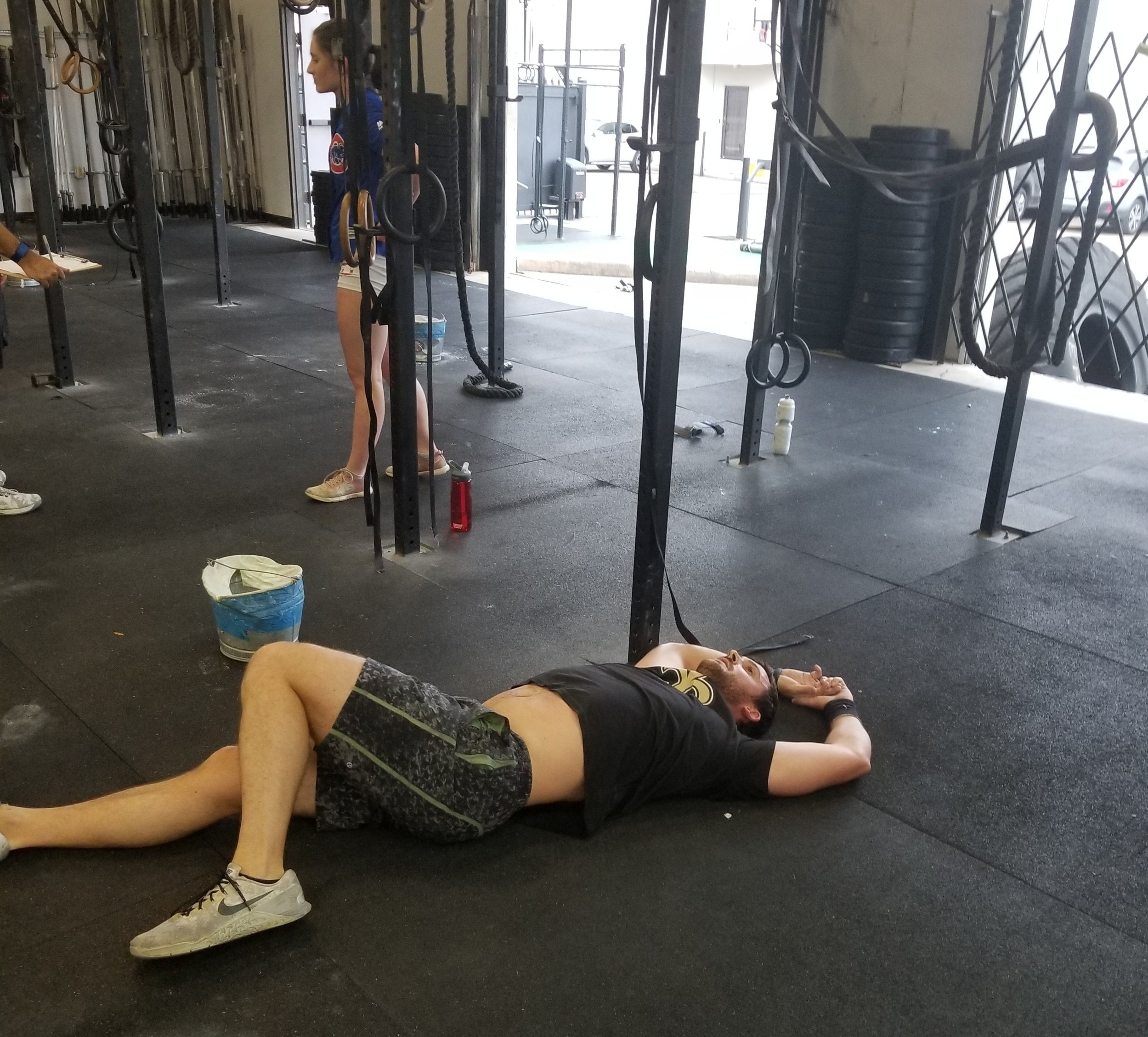 Skyline Newcomer Ryan L. after finishing Open workout 19.4.  Welcome to Skyline CrossFit Ryan!