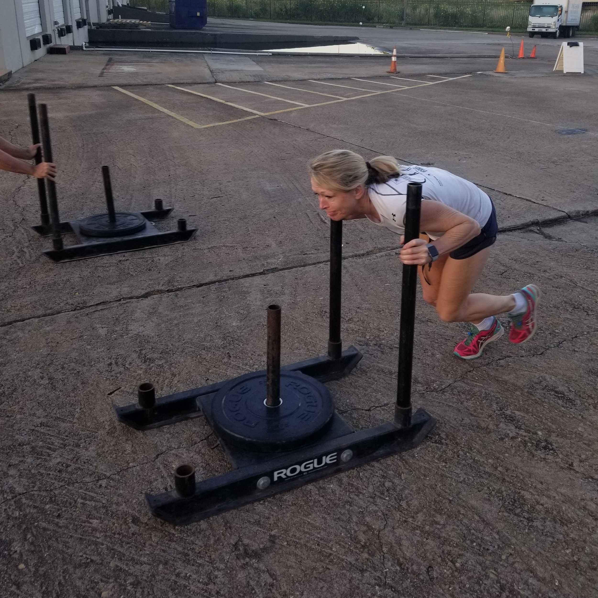 Just want give a shout out to Roswitha. She frequents early morning classes. About a year ago Rosie couldn't push the prowler by itself. Which can be quite frustrating considering there isnt a lighter option. Here she is at 6am this morning doing all 10 rounds of todays prowlers with an extra 25lbs added. She didnt get stronger at the prowler by pushing the prowler she got strong because she is very consistent coming and doing what she can do to get better. Nice job Rosie! Be Positive, Be Patient, and stay humble. The rest will take care of itself.