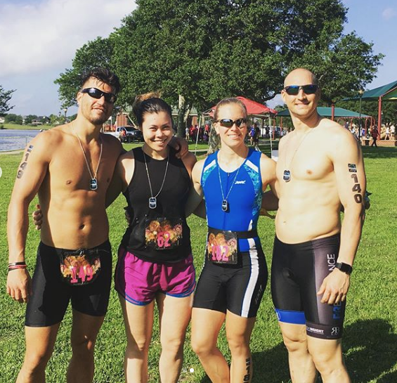Awesome job to these four  (Russel, Michelle, Nienke, and Zach) completing a Sprint Triathlon during the Memorial Day Weekend.  We spend so much time in the gym this is a great way to express our fitness outside with friendly competition!