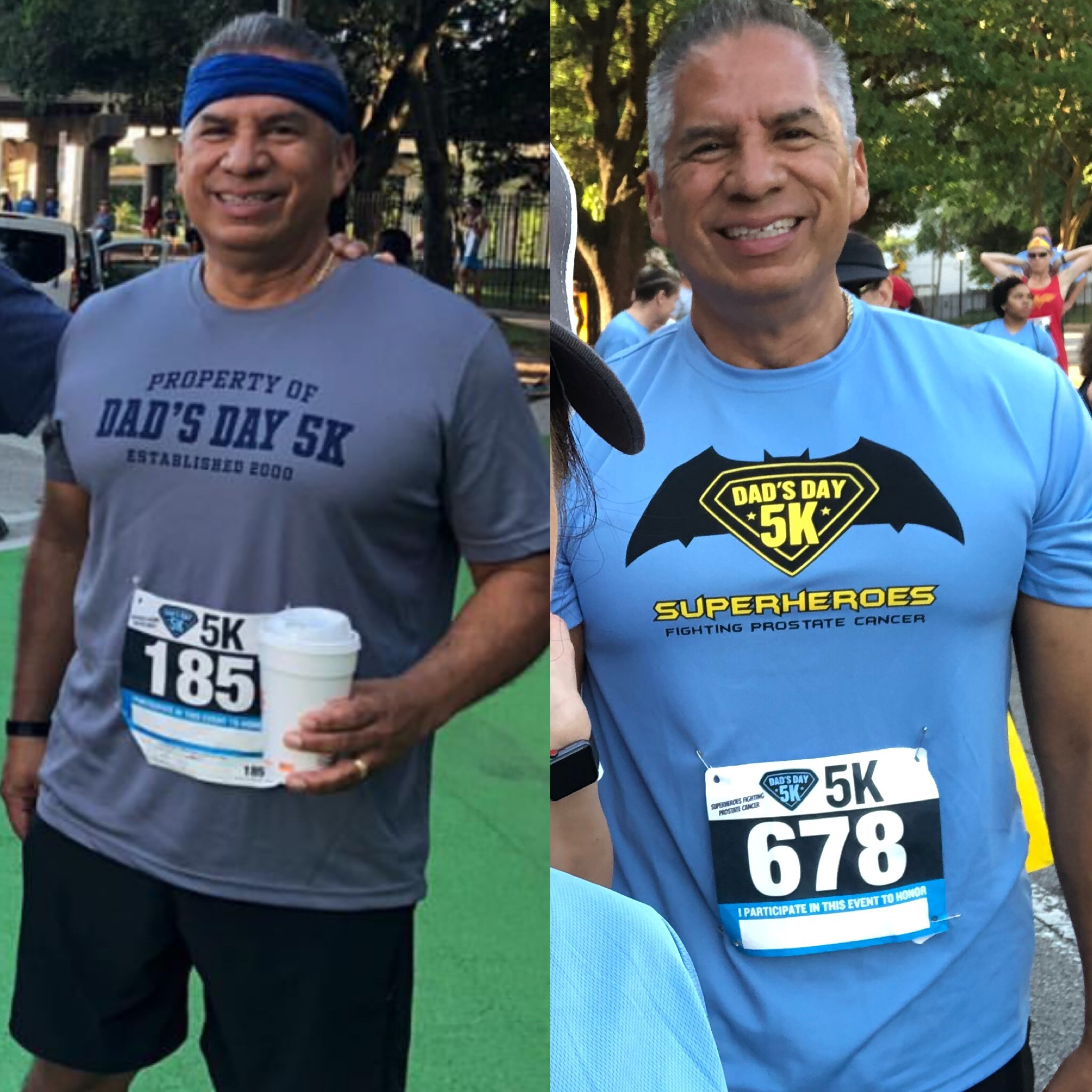 Frank Gamez doing the Dad's Day 5k.  Picture on the left was in 2018 and picture on right is from this weekend.  Frank incorporated CrossFit, fasting, and he cut the carbs.  Nice job Frank!
