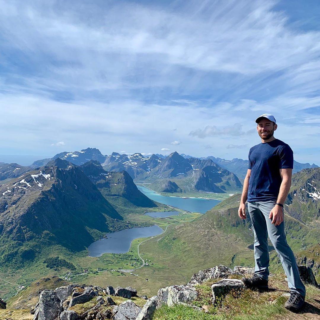 Chad Carpenter with a stunning view of Lofoten, Norway.