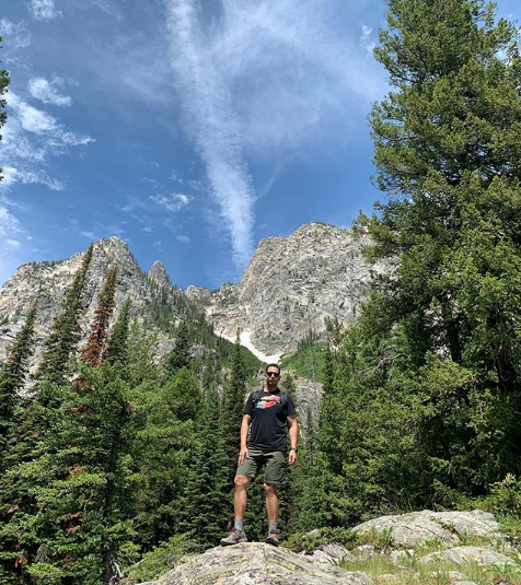 Frankie Gamez hiking Cascade Canyon Trail in Yellowstone National park.