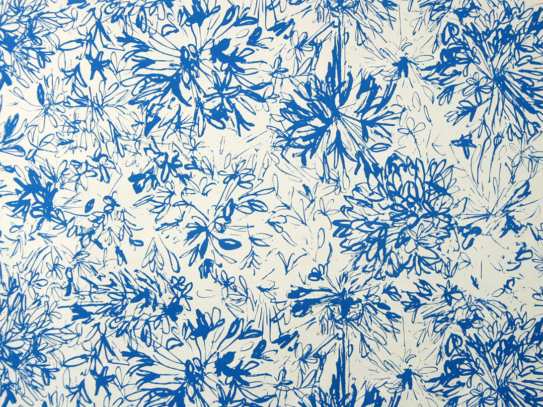 Larkspur Agapanthus - There is a story behind this particular colourway which was not in our original swatchbook. Bronwen was horrified that we had not printed a vibrant blue version of her Agapanthus - which of course are the most amazing colour. So we printed this particular combination for her. As soon as it was printed we fell in love with it, and decided to add it to the range and we have never looked backed!