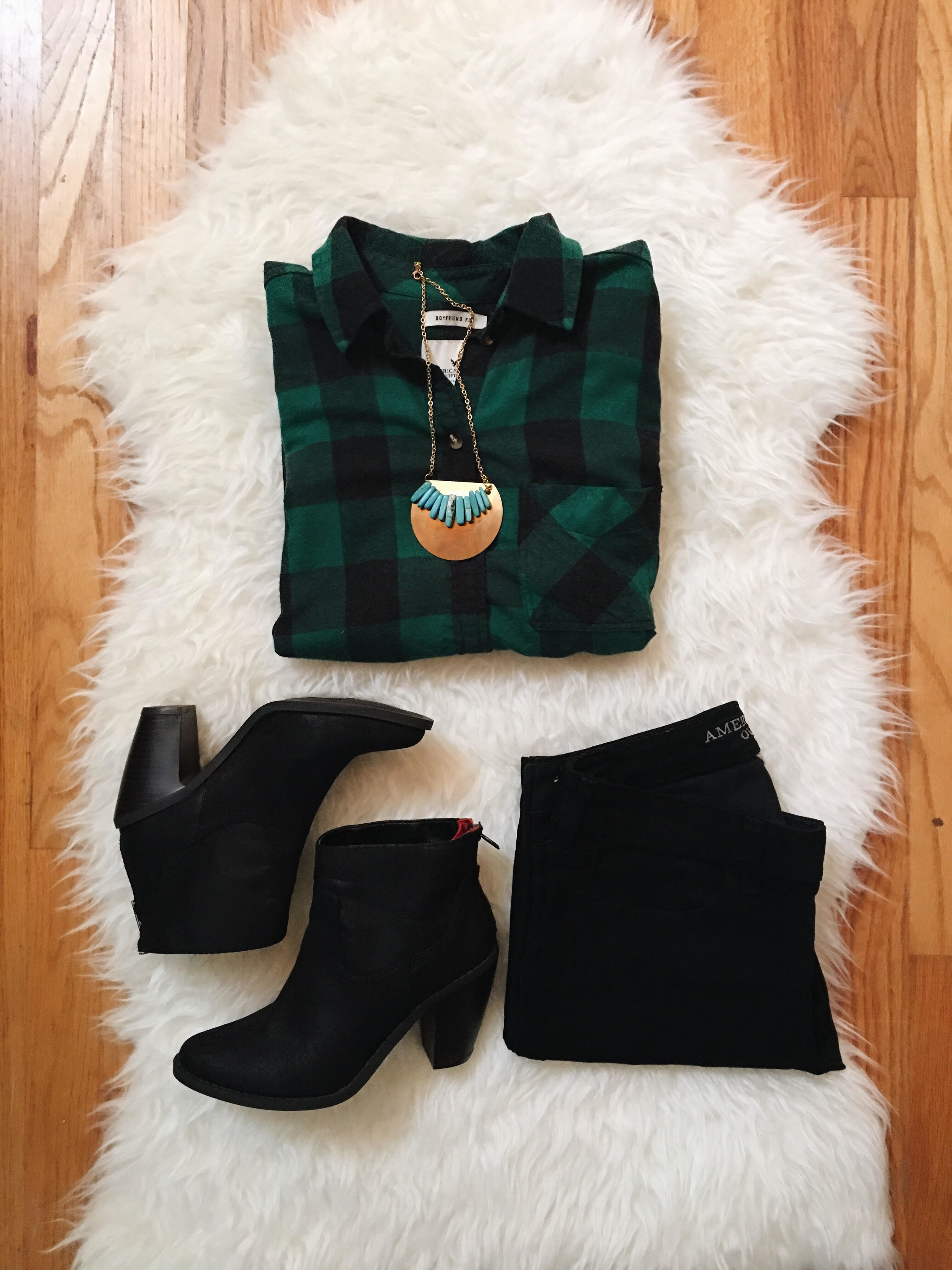 Leocadia K. Necklace  //  American Eagle Shirt (similar)  //  American Eagle Jeans  //  Target Ankle Boots (similar)