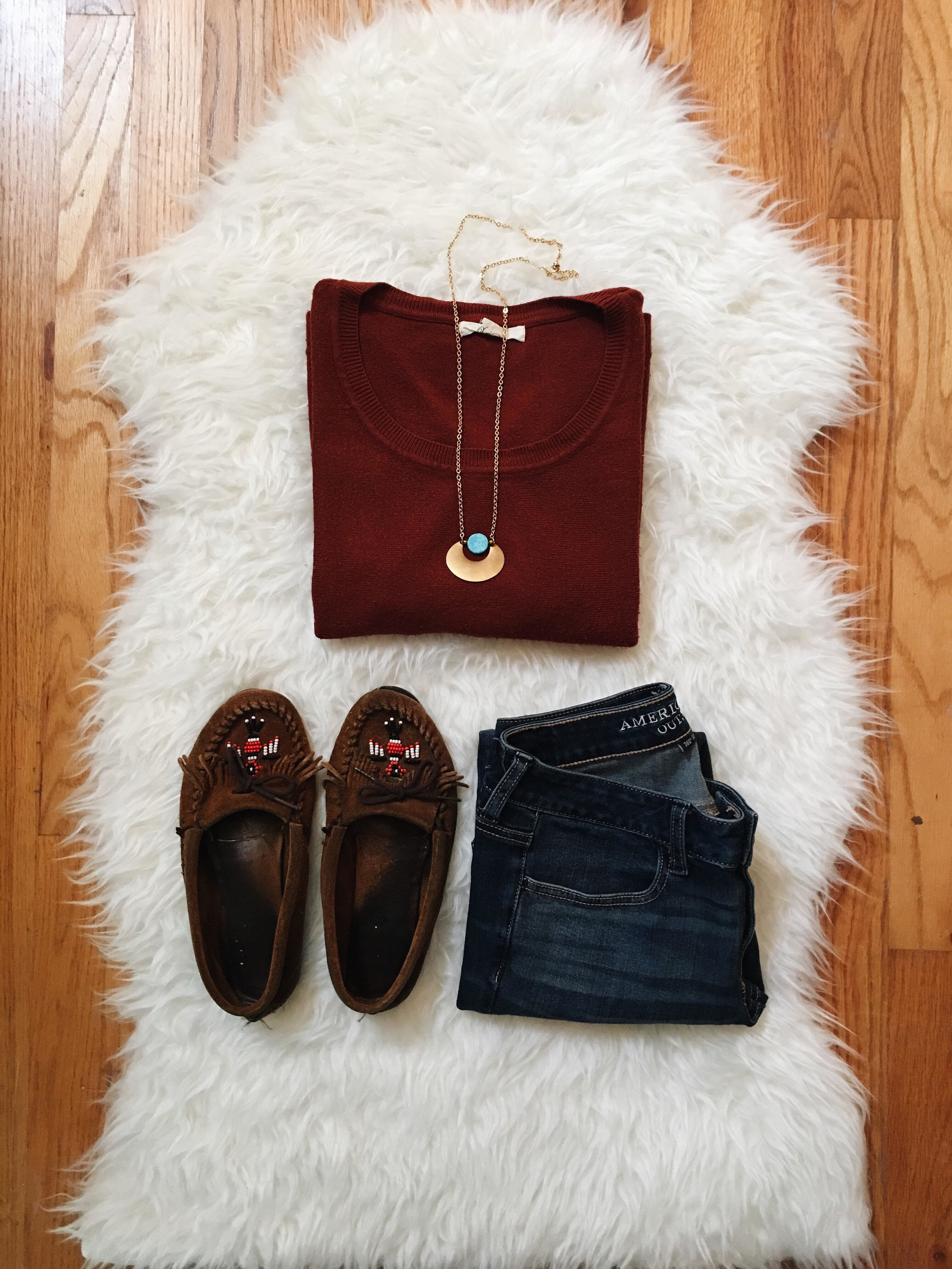 Leocadia K. Necklace  //  Forever 21 Sweater (similar)   //  American Eagle Jeans  //  Minnetonka Moccasins