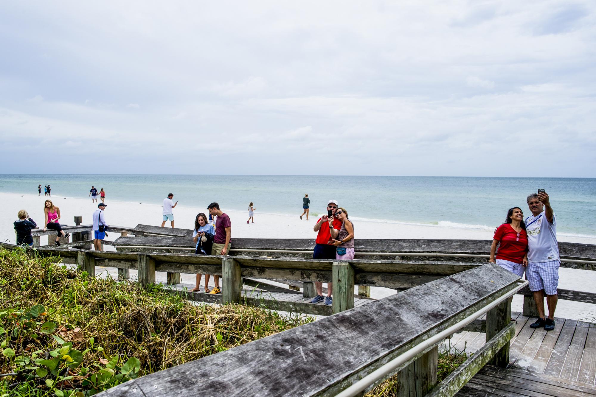 Many people visited Vanderbilt Beach in north Naples hours before Irma hit.