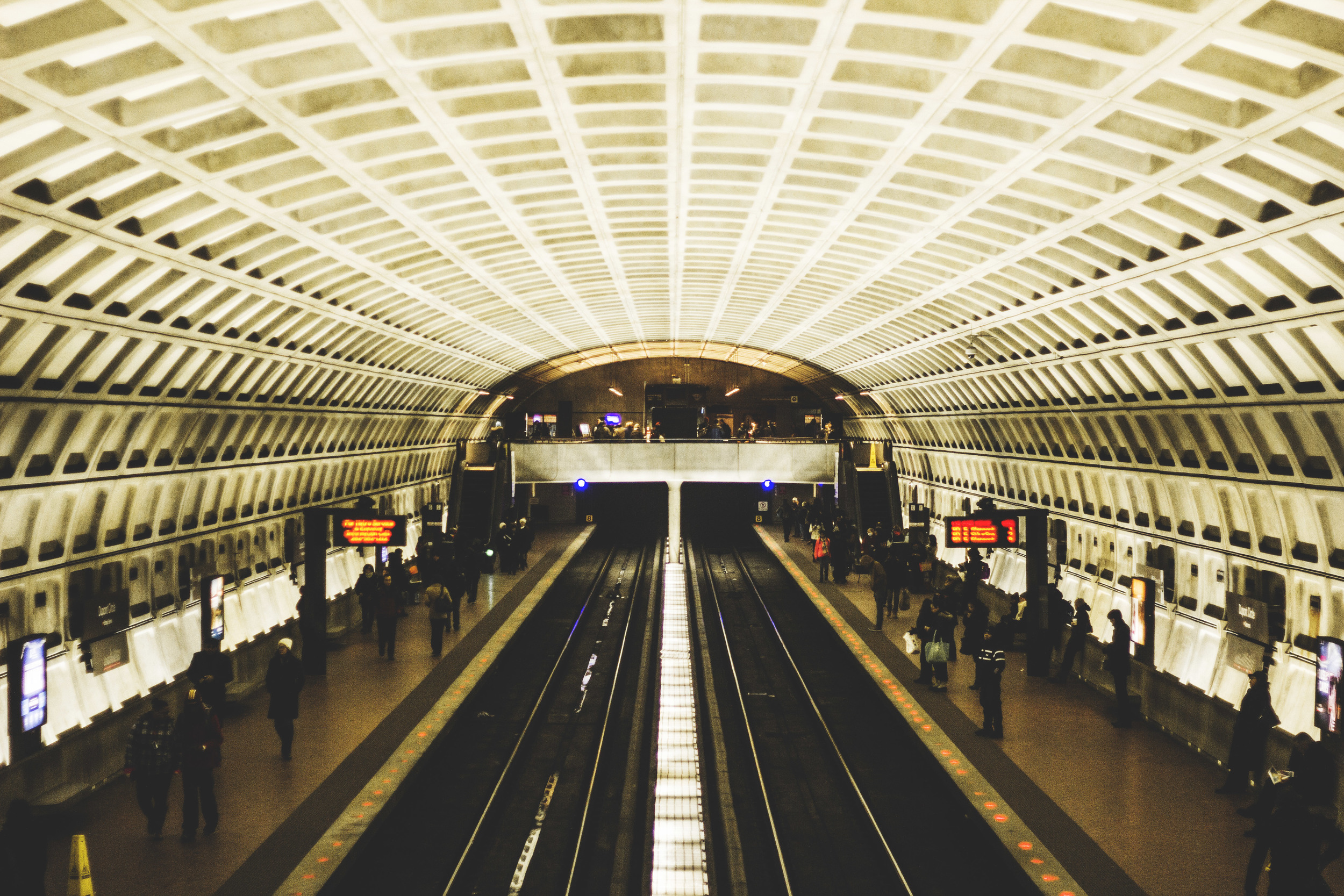 The Dupont Circle stop on the DC Metro Red Line.