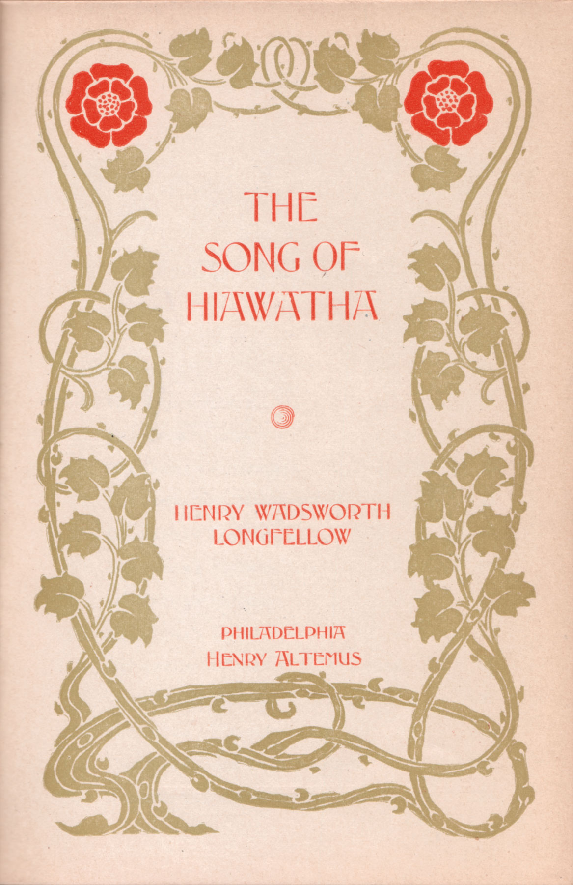 Longfellow always said that the name of the hero of his epic poem was pronounced Hee-a-wa-tha. The author's preference never caught on. But the poem certainly did. A classic of American literature, it had an astonishingly wide readership and innumerable printings. This edition (top) appeared 40 years after its original publication.