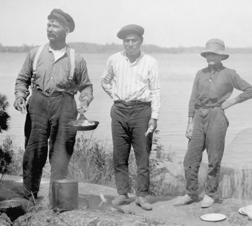 A highlight of every fishing expedition was the famous shore lunch: beans, potatoes, freshly baked blueberry pie and a pot of hot coffee.