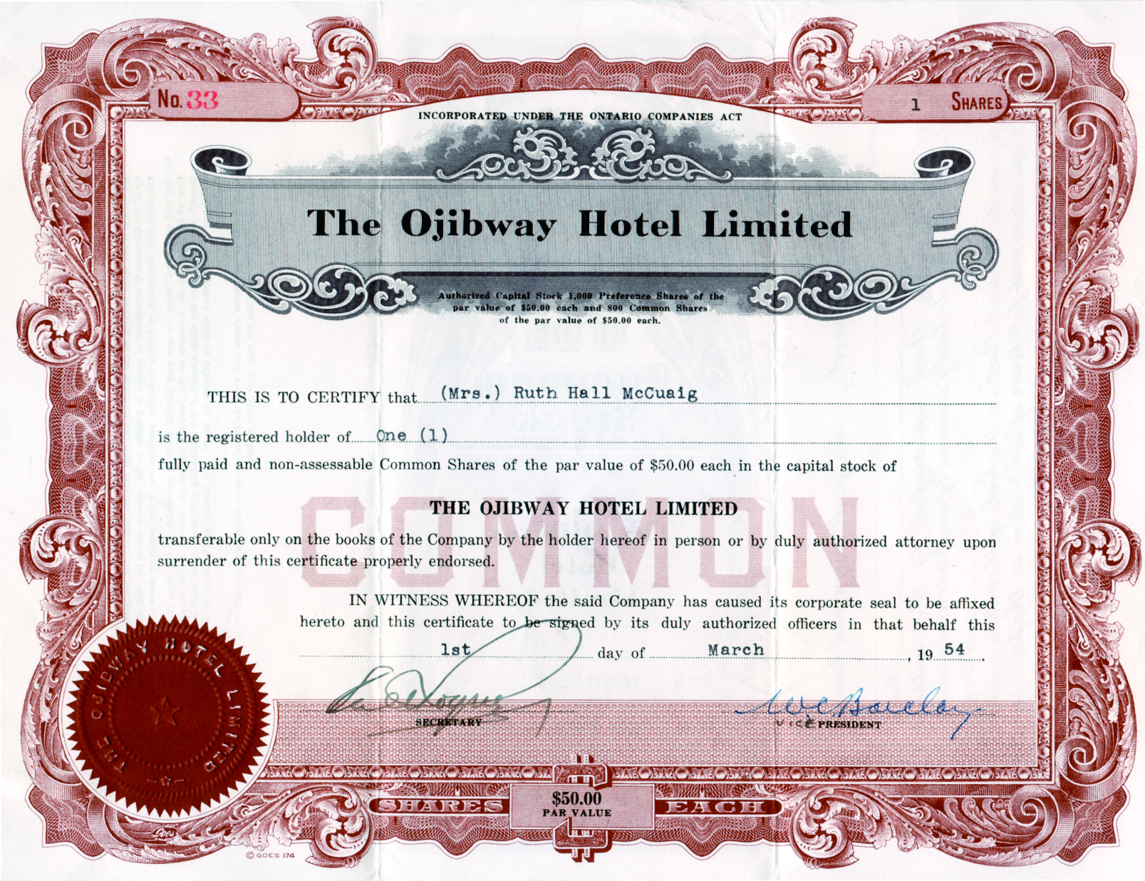 Throughout the 1940s and 1950s, shares were issued to finance the ongoing operations of the hotel. This had more to do with fundraising than with investment, for there were certainly more profitable ventures than a big old resort.  But the islanders wanted the Ojibway to continue to be run as always. None of the investors expected to make any money. And, as a matter of fact, they didn't.