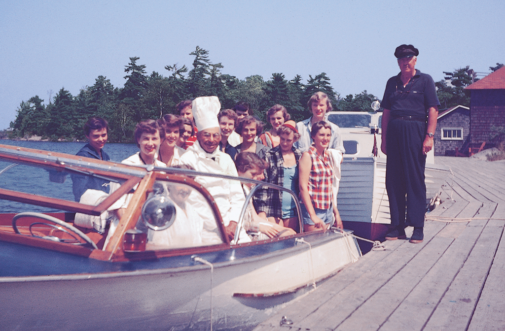 Staff in the 1950s departing for a picnic.