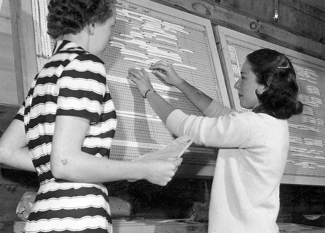 In the 1950s, the dedicated young manager, Sondra MacLennan, kept careful track of guests' arrivals and departures on the reservation board.