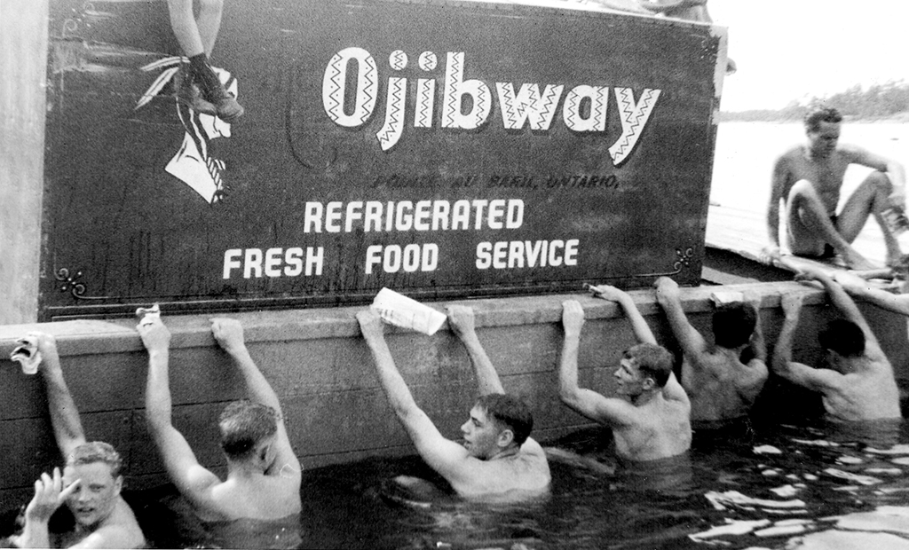 The hotel barge became the starting line in the 1950s for swimmers awaiting the starter's gun.