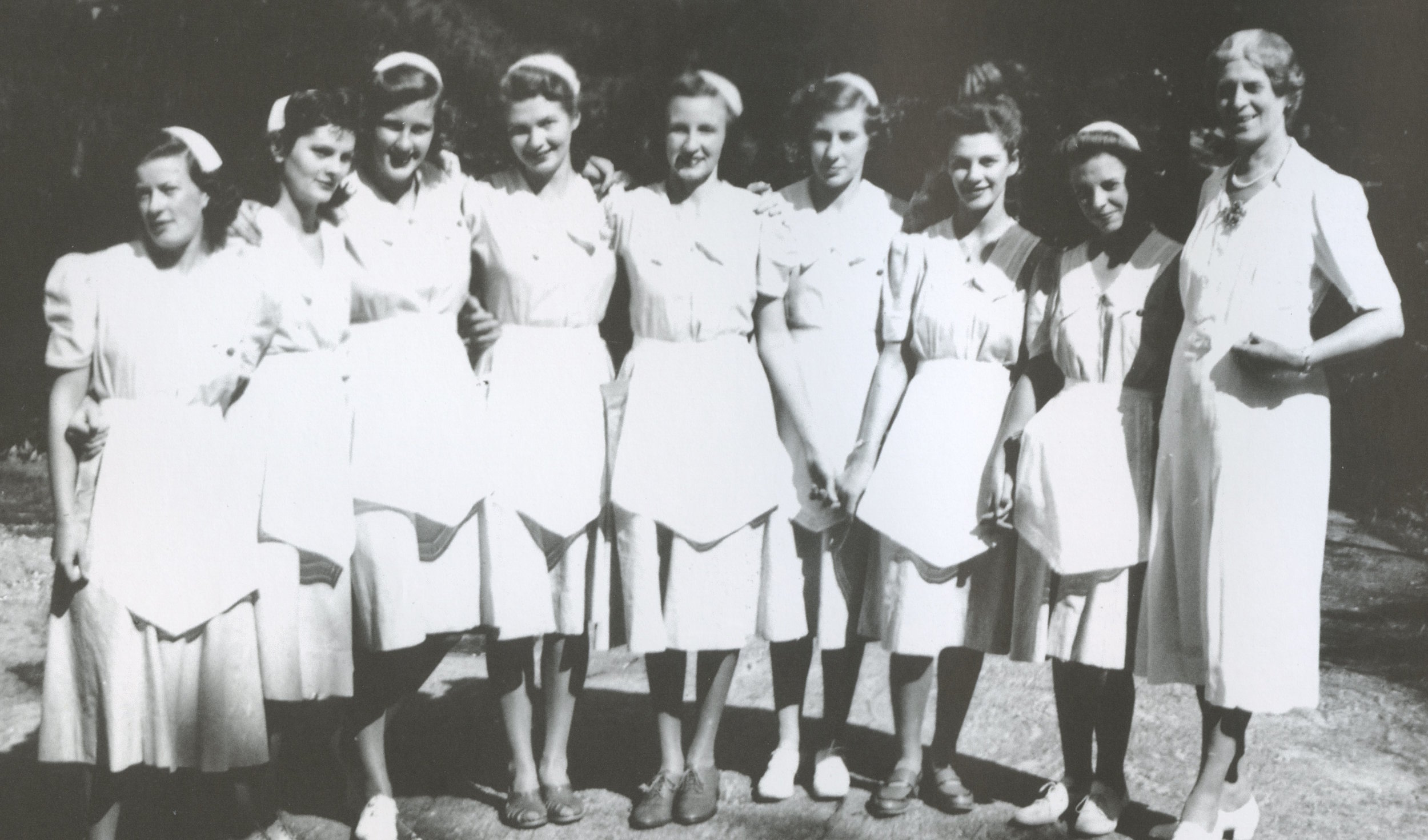 Waitresses in the 1940's with head waitress, Miss Cowan