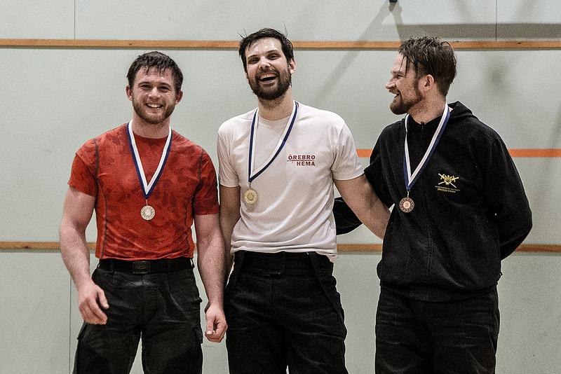 Voittajan on helppo hymyillä. Miesten palkintopalli vasemmalta oikealla: Ties Kool (NL), Carl Ryrberg (SWE), Thomas Nyzell (SWE)