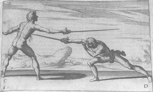 Pisto rapiirilla syöksyllä italialaisen Ridolfo Capo Ferro da Caglin manuaalissa Gran Simulacro dell'Arte e dell'Uso della Scherma (1610)