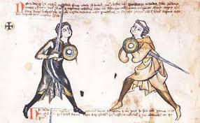 Yksi varhaisemmista miekkailuoppaista Walpurgis Fechtbuch, joka tunnetaan myös arkistointitunnuksellaan MS I.33 (n. 1320), kuvaa naisen yhtenä harjoittelijoista.